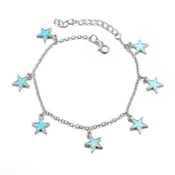 Trendy Luminous Blue Star Anklet Foot Chain Barefoot Sandal Beach Jewelry Bracelet Gift for Women