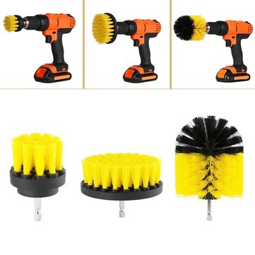 3pcs 2/3.5/4 Inch Yellow/White Power Scrub Drill Cleaning Brush for Electric Drill
