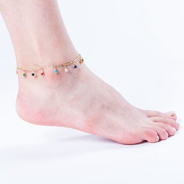 Gold Plated Anklet Colorful Zircon Tassels Anklets Jewelry
