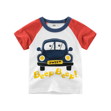 Boys Kids Car Printed Short Sleeve T-Shirts For 3Y-12Y