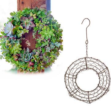 Gardening Round Iron Hanging Planter Pot Flower Pot Wire Wreath For Succulent Plant Decorations