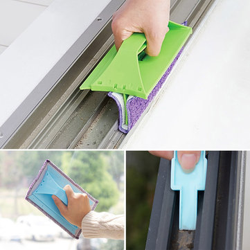 2 in 1 Multi-Function Foldable Microfiber Window Wiping Cloths Groove Cleaning Brush Home Cleaning Tools