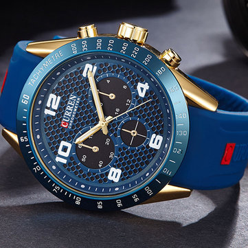 CURREN 8167 Silicone Strap Sport Quartz Watch