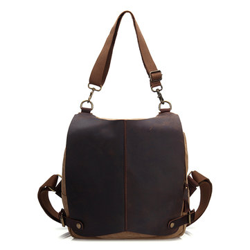Genuine Leather Canvas Functional Backpack Shoulder Bag For Men And Women