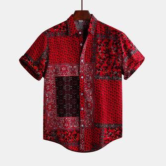 Original Camisas ocasionales flojas impresas rojas del estilo étnico del verano para hombre