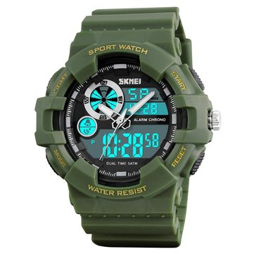 SKMEI 1312 Digital Watch Dual Display Military 50M Waterproof LED Sport Men Watch