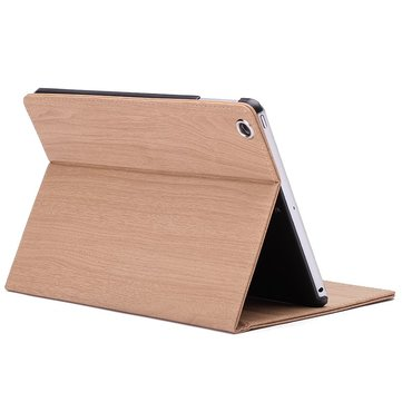 Wood Texture PU+PC Smart Sleep Flip Kickstand Case For iPad Air 2