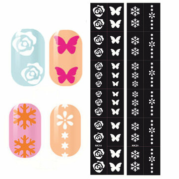 Nail Art Stencils Designs Vinyl Diecut Stickers Decal Decoration Tool