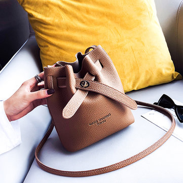 Women Faux Leather Fashion Casual Bucket Bag Shoulder Bag