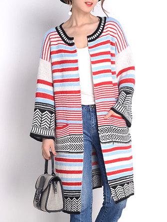 Women Long Sleeve Multicolor Stripe Double Pocket Knit Cardigan