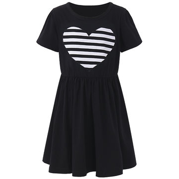Sweet Kid Girls Love Heart Printed Long Sleeve Striped Dress