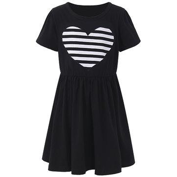 Sweet Kid Girls Love Heart Printed Long Sleeve Striped Dress