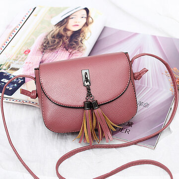 Women Vintage Solid Tassel Crossbody Bag