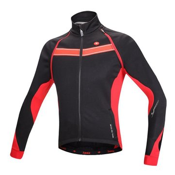 Santic Men Cycling Winter Jersey Long Sleeve Jacket Bike Jersey Clothes Fleece Removable