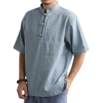 Men's Stand Collar Solid Color Loose T-Shirts