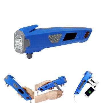 3 in 1 XANES U23 USB Rechargeable Hand Crank LED Flashlight & Safty Hammer & Power Bank