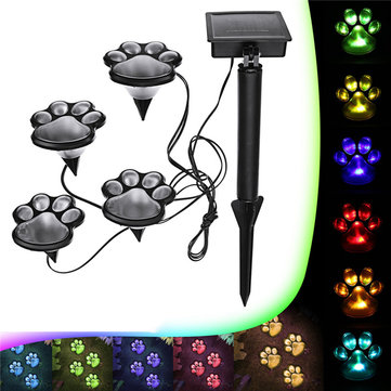 Solar Power 4 LED Dog Animal Paw Print Light for Outdoor Garden Path