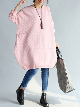 O-NEWE Women Loose Solid Polka Dot Embossed Sweatshirt Dress