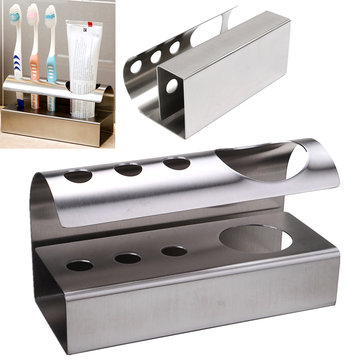 304 Stainless Steel Stand Bathroom Toothbrush Toothpaste Holder Stand Storage Rack Kitchen Tool