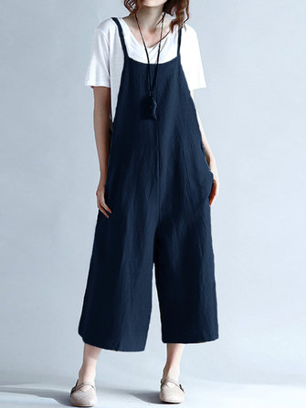 Women Strap Pockets Loose Jumpsuit Rompers