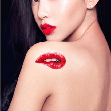 5Pcs Halloween Red lips Make Up Tattoo Stickers The Ultimate Temptation