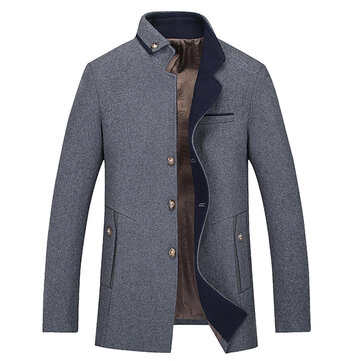Mens Business Casual Turn Down Collar Warm Stitching Wool Jacket Trench Coat