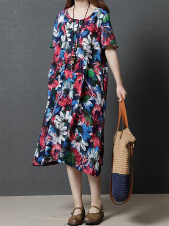 Retro Women Floral Printed Short Sleeve Button O-Neck Casual Dress