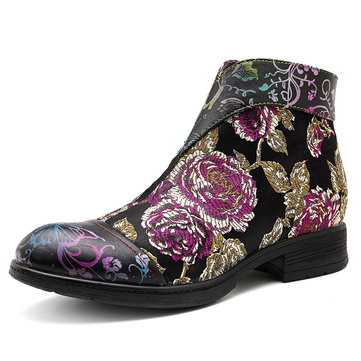 SOCOFY Stitching Flowers Pattern Genuine Leather Zipper Ankle Boots