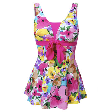 Plus Size 5XL Women Comfort Floral Printing Swimdress Wire Free One Piece Swimsuit