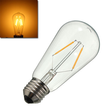 E27 LED 2W Warm White COB LED Filament Retro Edison Light Bulb AC110V AC220V