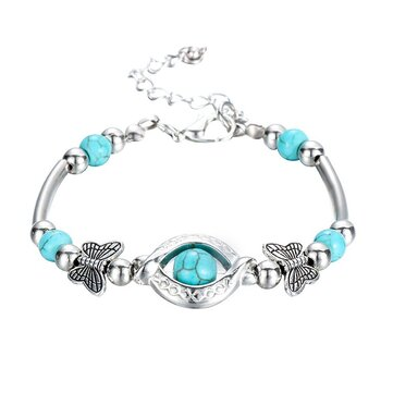 Trendy Turquoise Handmade Bracelet Sliver Beaded Bracelet For Women