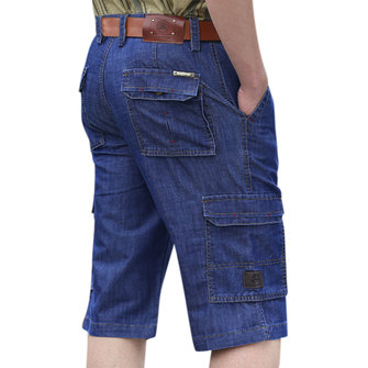 Mens Multi Pocket Loose Straight Leg Knee Length Cargo Short Jeans