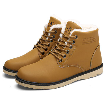 Men Comfortable Warm Fur Lining Leather Laces Up Boots Shoes