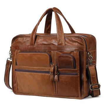 Men Ekphero Vintage Genuine Leather Large Capacity Business Handbag Crossbody Bag