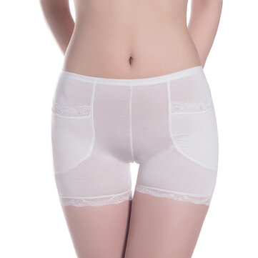 Women Breathable Mid Waist Modal Lace Pocket Safety Shorts