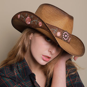 Men Women Woven Cowboy Hat Wide Brimmed Hat Trucker Cap