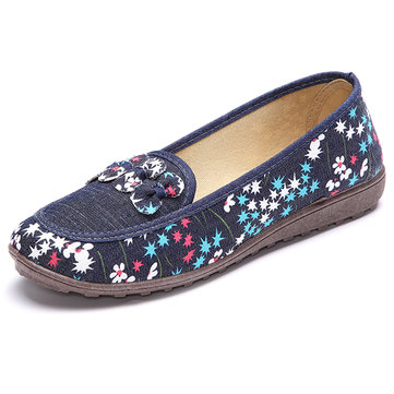 Floral Soft Sole Round Toe Casual Slip On Flat Loafers For Women