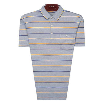 Mens Casual Slim Stripes Golf Shirt Summer Short Sleeve Middle-aged Comfort Tops Tees