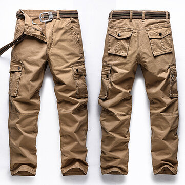Big Size 30-48 Multi Pocket Cargo Pants Fashion Mens Outdoor Army Casual Cotton Trousers