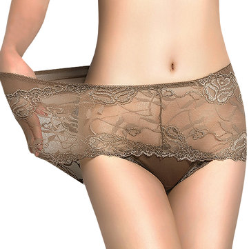 Women Seduced Lace Hollow Out Mid Waist Breathable Soft Briefs