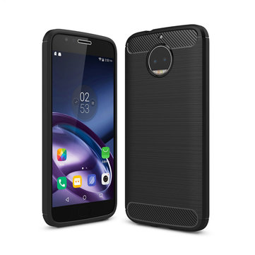 Bakeey Carbon Fiber Shockproof Soft Silicone Back Cover Protective Case for Moto G5s Plus