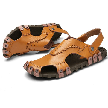 Mens Sandals Genuine Leather Soft Sole Casual Toe Breathable Cooler Shoes Summe