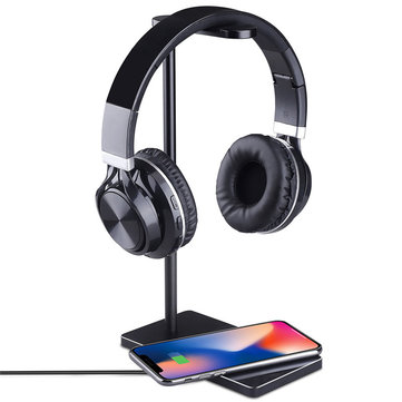 10W Oi Wireless Fast Charge Anti-slip Game Headphone Holder Headset Stand for iPhone X Mobile Phone