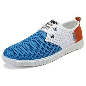 Men Casual Comfy Breathable Mesh Cloth Oxfords Lace Up Flats