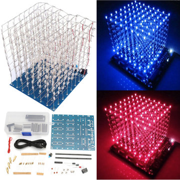 DIY Square 8x8x8 3D Light Electronic Cube Kit Blue Red LED Spectrum Board