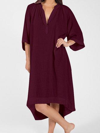 Plus Size Cotton V-neck Half Sleeve Women Dress