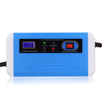 12V/24V 10A Smart Battery Charger LCD Digital Display for Automobile Motorcycle