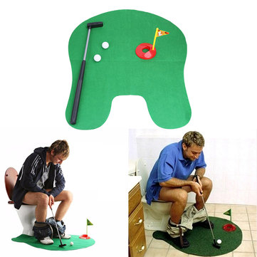 1Set Bathroom Funny Golf Toilet Time Mini Game Play Putter Novelty Gag Gift Mat