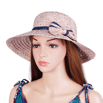 Women Summer Outdoor Bow Wide Brim Straw Hat Breathable Sunshade Beach Hat