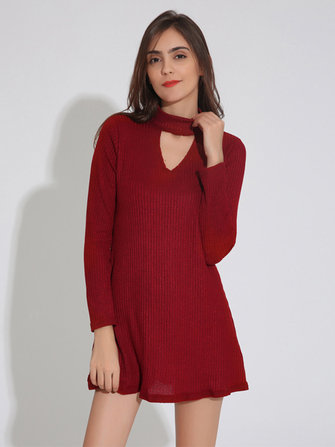 Women Casual Long Sleeve Stand Collar Knitting Pit Stitching Dresses